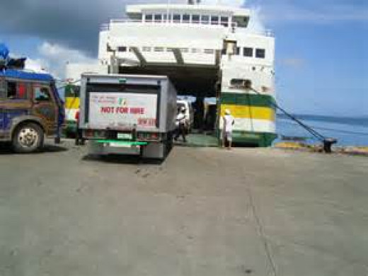 The vehicles going inside the ship