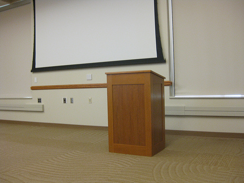 The podium may be scary when you give a speech, but you can do it!