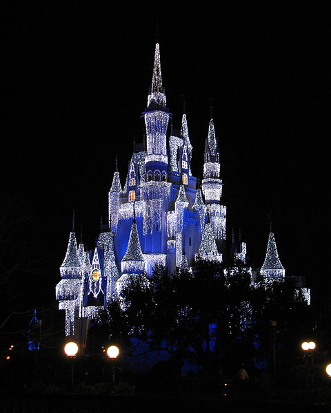 During the Christmas Party at Magic Kingdom, the castle is transformed.