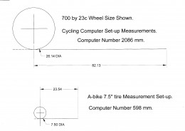 Cad Drawing showing relative computer number to wheel travel per turn. Cad drawings are shown in inches.