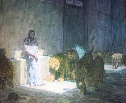 Painting of Daniel in the Lions Den