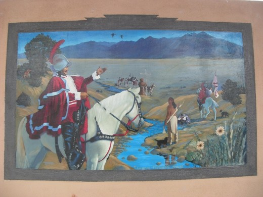 This mural depicting Coronado's journey along the Rio Grande is on public display at the Taos Town Hall