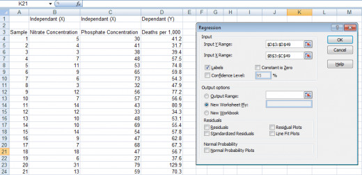 Creating a regression using the Regression Tool from the Analysis ToolPak in Excel 2007 and Excel 2010.