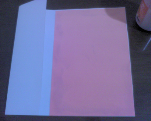 pink paper inside the card