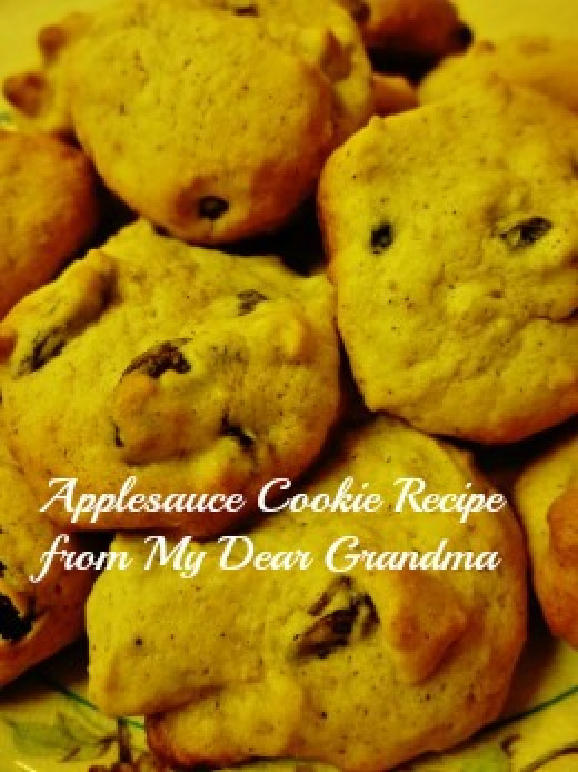 Applesauce cookies with raisins and chopped walnuts