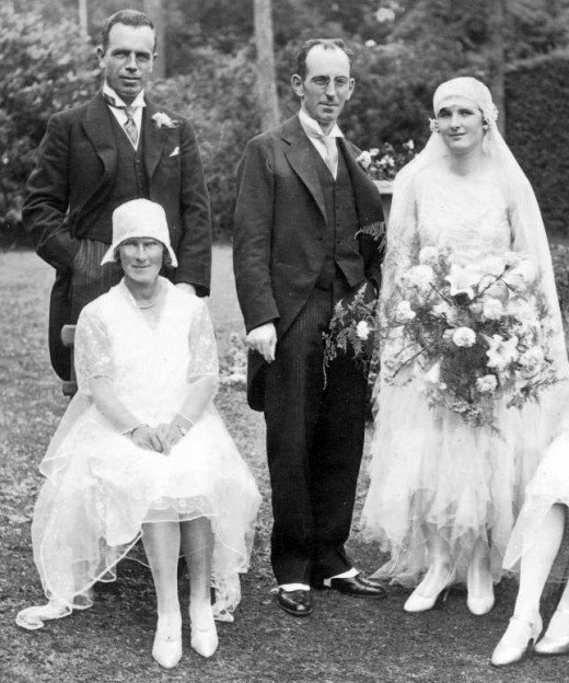 Traditional wedding dress in late 1920s.