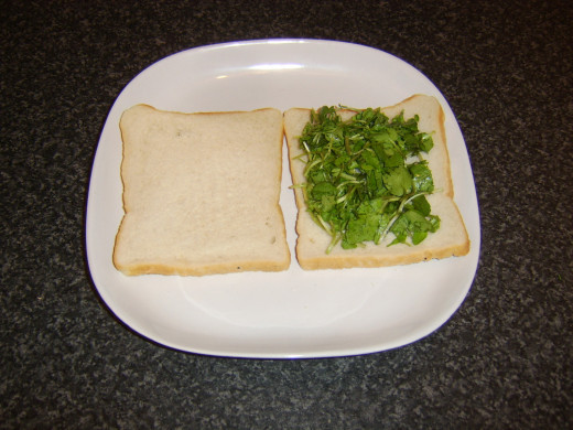 Watercress spread on one slice of bread