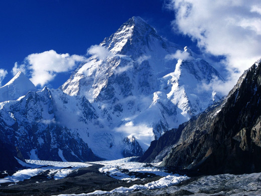 K2 image. It seems very big and extremely tall, well it is the 2nd highest mountain in the world.