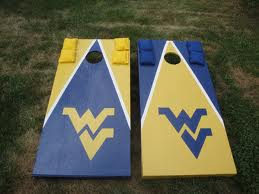A favorite tailgating past time in at WVU is a bean bag game that is bags of corn. It is called cornhole. The goal is to get the bag in the hole like bean bag toss.