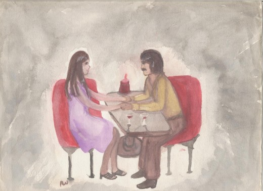 "Matthew and me on our first date, where he said, ""Let's be partners."" (watercolor by the author)"