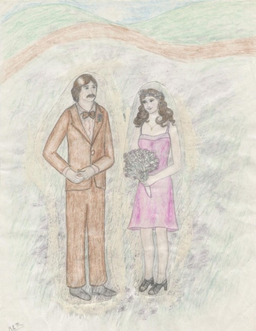 Married in a field of wildflowers (colored pencil drawing by the author)