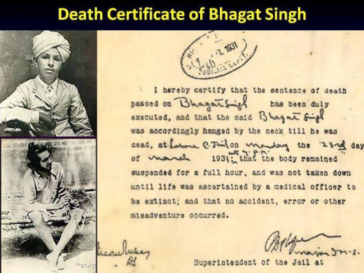 Death Certificate of Bhagat Singh