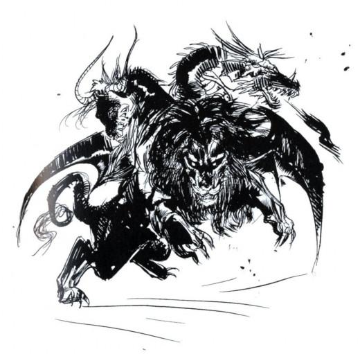 Final Fantasy II Chimera concept art by Yoshitaka Amano.