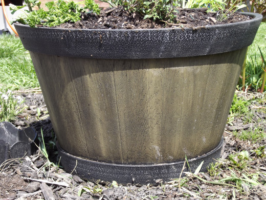 "20"" Fiberglass whiskey barrel--Lowes, $19.00"