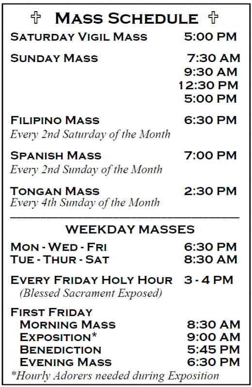 Unlike the early Apostles and their followers,  modern day Catholics have a mulitude of options as it relates to attending Sunday Mass, both in terms of schedule and even the  language in which the Mass is celebrated