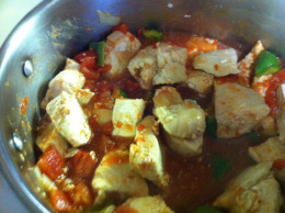 Add the cooked chicken to the pot