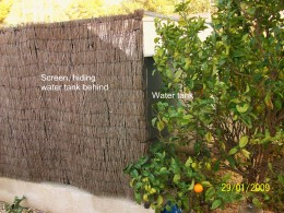A brushwood screen for the water tank