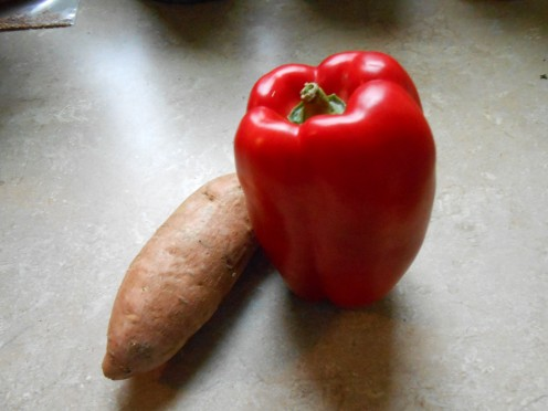 Red peppers and sweet potatoes may be coated with wax.