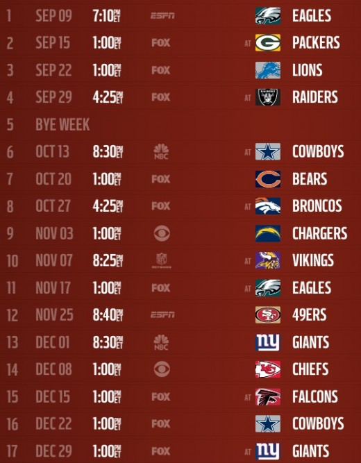 The Washington Redskins schedule for the 2013 season.