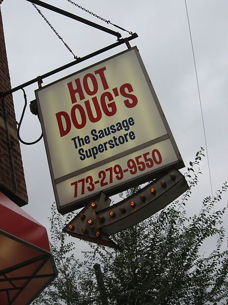 Hot Doug's Hot Dogs And Sausages In Chicago.