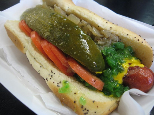 A Delicious Chicago Style Hot Dog Is In This Photo. Don't You Wish You Had One? I Know I Do.