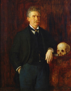 Bierce with a favorite human skull. It is said that he kept one on his writing desk.
