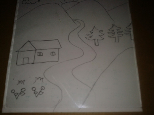 A scenery outlined using a marker