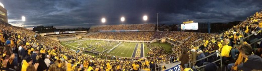 A West Virginia Mountaineer night football game at Mountaineer Field at Milan Puskar Stadium.