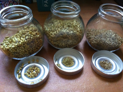 Whole Coriander seeds, Whole fennel seeds and Whole cumin seeds.