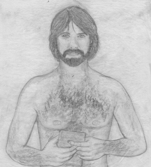 I traced the cigarette ad picture, removed the shirt, added a beard to reflect Matthew's later appearance. The cigarettes I replaced with a book.