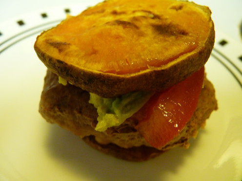 Assemble the cooked ingredients into a sweet potato turkey slider. Add a slice of tomato and avocado for a boost of flavor and texture. Enjoy!