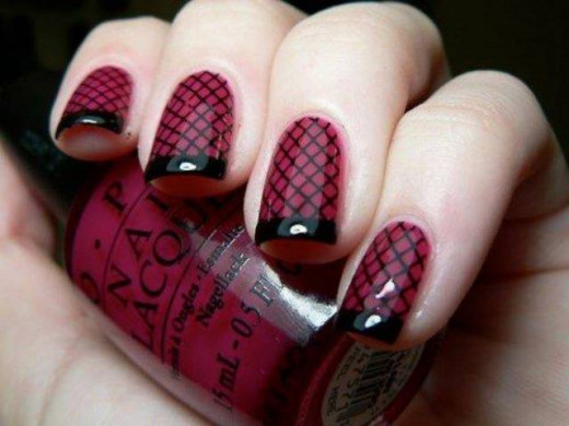 Colored French Manicure with Fishnet Print