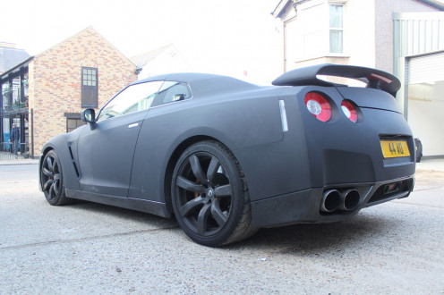 Stealthy looking Nissan GT-R wrapped in matte black vinyl