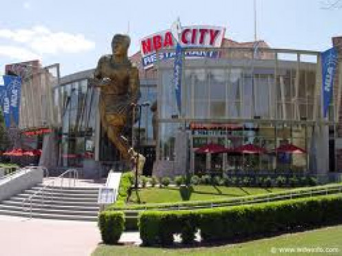 NBA City is a NBA themed restaurant located at City Walk. It has many signed jerseys and basketballs not to mention huge pictures of all the greats of the game.