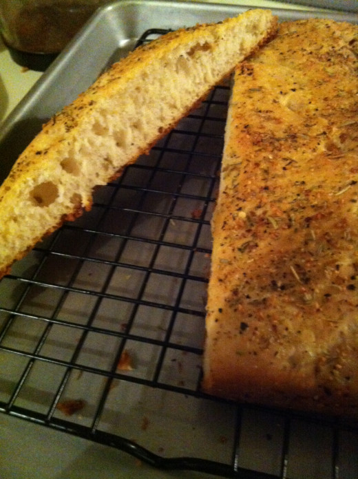 Tender focaccia with a browned, crispy crust!