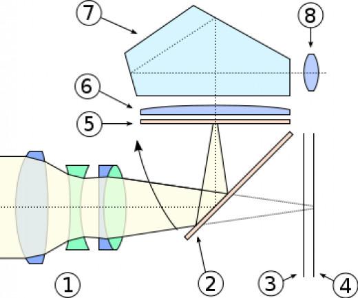 Cross Section of a Digital SLR camera 1. Lens 2. Mirror 3. Shutter 4. Sensor  5. Focusing Screen 6. Condenser Lens  7. Prism  8. View Finder