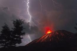 Anak Krakatau volcano in Sumatra, Indonesia