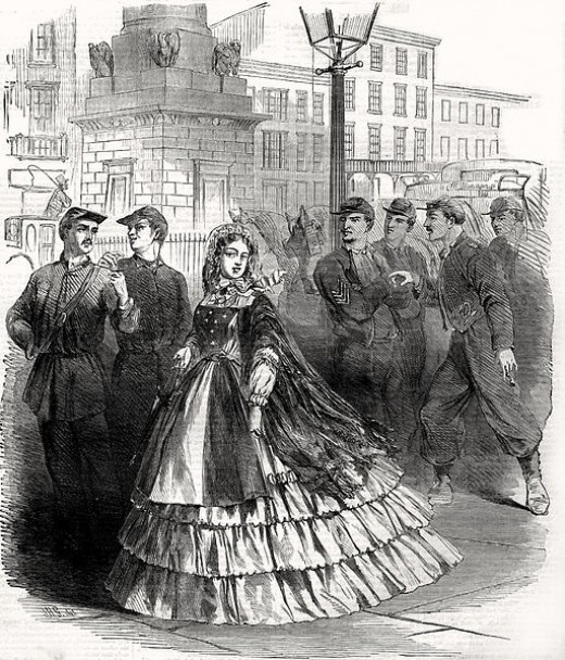 From Harpers Weekly this shows what a southern belle looked like during the Civil War in 1861.