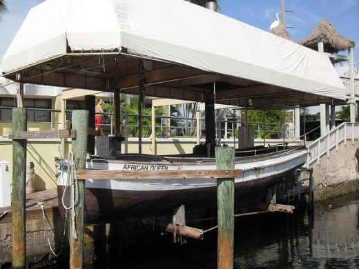 The African Queen docked under a canvas roof in Key Largo.