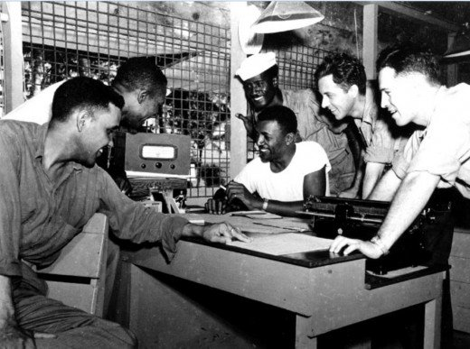 SeaBees in the Pacific listen to news of Japan's surrender