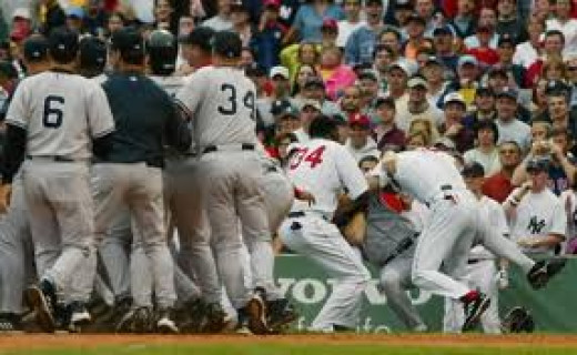 A brawl that ensued after Varitek and Rodriguez started fighting.