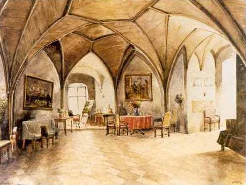 Restaurant Greinburg in Grein on the Danube, watercolor, 1911