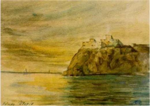 Utopian fortress, watercolor, 1909