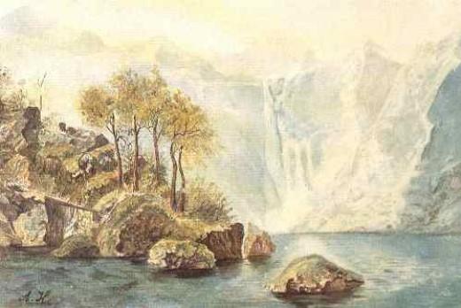 Mountain Lake, watercolor, 1910