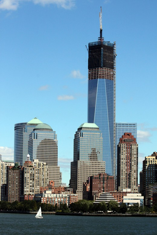This 2012 photo shows the tower dominating the lower Manhattan skyline.
