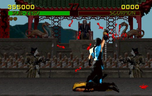 "The gore in ""Mortal Kombat"" delighted gamers but distressed parents and politicians. In this screen shot,  Sub-Zero triumphantly raises the severed head of his rival, Scorpion."