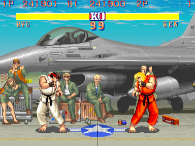 "The first version of ""Street Fighter II"" featured eight  warriors for players to choose from. Here, Ryu faces off against Ken."