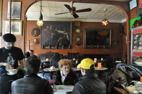 Interior of the Cafe Reggio, 119 MacDougal Street, New York City. Established 1927.