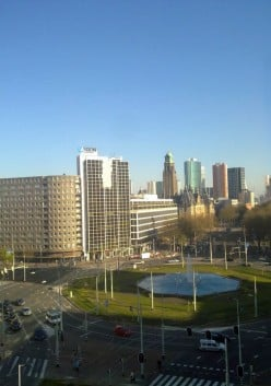 Rotterdam: the Hofplein photographed from the rooftop of a nearby office building. A view towards the City Hall (Coolsingel 40)