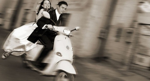 Bride and Groom On Wedding Scooter